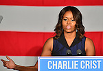 MIAMI, FL - OCTOBER 17: U.S. First Lady Michelle Obama speaks as she campaigns for former Florida Governor and now Democratic gubernatorial candidate Charlie Crist during an event at the Betty T. Ferguson Recreational Complex Gymnasium on Friday October 17, 2014 in Miami, Florida. Crist is facing off against incumbent Republican Governor Rick Scott in the November 4, 2014 election. (Photo by Johnny Louis/jlnphotography.com)