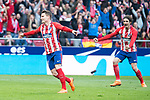 Atletico de Madrid Kevin Gameiro and Sime Vrsaljko celebrating a goal during La Liga match between Atletico de Madrid and Athletic Club and Wanda Metropolitano in Madrid , Spain. February 18, 2018. (ALTERPHOTOS/Borja B.Hojas)