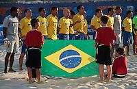RAVENNA, ITALIA, 10 DE SETEMBRO 2011 - MUNDIAL BEACH SOCCER / BRASIL X PORTUGAL - Jogadores do Brasil, durante a partida contra Portugal , válida pela semi-final do Mundial de Futebol de Areiano Estádio Del Mare, em Ravenna, na Itália, neste sábado (10).FOTO: VANESSA CARVALHO - NEWS FREE