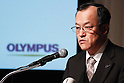 December 15, 2011, Tokyo, Japan - Shuichi Takayama, president of Japans Olympus Corp., speaks with a grim look during a news conference in Tokyo on Thursday, December 15, 2011. Takayama said the scandal-hit company would aim to hold an extraordinary shareholder meeting in March or April in the wake of demands by foreign investors to overhaul management following the discovery of an accounting fraud. The 92-year-old camera and endoscope maker submitted its overdue revised earnings statement to the Financial Services Agency three hours before the deadline Wednesday to avoid being axed from the Tokyo Stock Exchange. For the April to September quarter, the company booked a net loss of $413 million against a year-earlier profit of $38 million due mainly to one-time losses caused by market deterioration, Thai floods and a decline in the book value of its business assets. Olympus delayed the filing pending the findings of an independent investigation into schemes that used inflated payments for acquisitions to hide about $1.5 billion in losses from the 1990s. (Photo by Natsuki Sakai/AFLO) [3615] -mis-