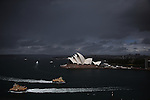 Ferries on Sydney Harbour come and go into Circular Quay.<br />