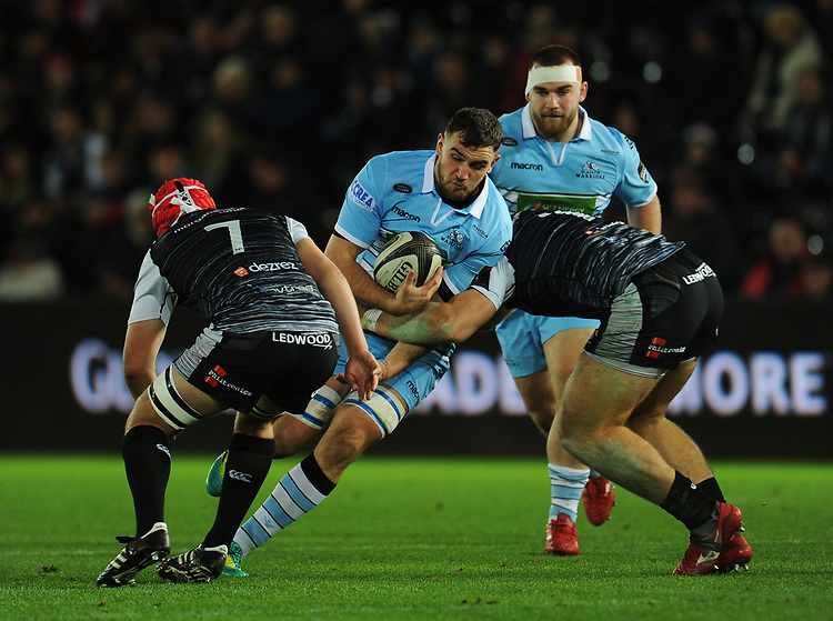 Glasgow Warriors' Adam Ashe is tackled by Ospreys' Rhodri Jones<br /> <br /> Photographer Kevin Barnes/CameraSport<br /> <br /> Guinness Pro14 Round 8 - Ospreys v Glasgow Warriors - Friday 2nd November 2018 - Liberty Stadium - Swansea<br /> <br /> World Copyright © 2018 CameraSport. All rights reserved. 43 Linden Ave. Countesthorpe. Leicester. England. LE8 5PG - Tel: +44 (0) 116 277 4147 - admin@camerasport.com - www.camerasport.com