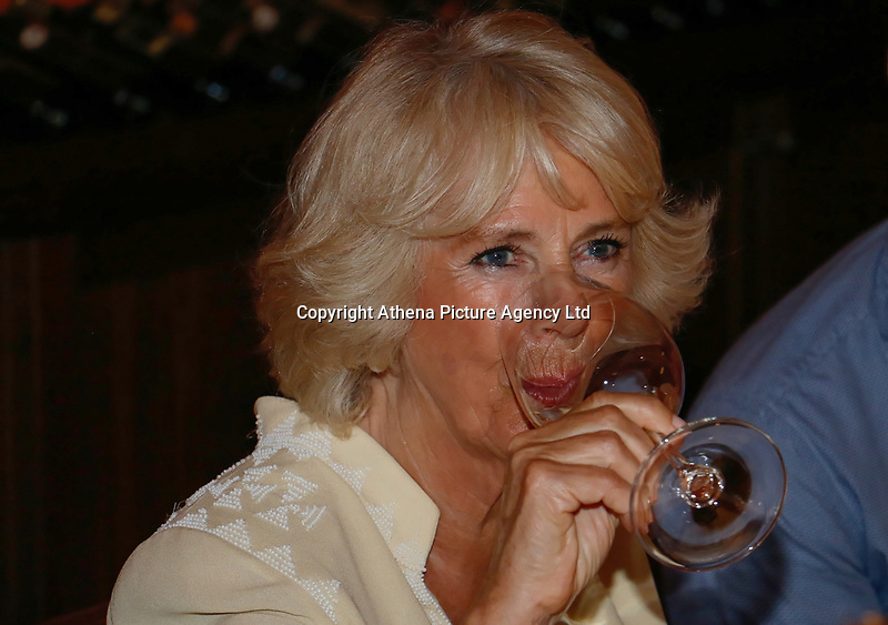 Pictured: The Duchess of Cornwall tastes local wine at Lyraraki Winemakers in ALagni, Crete, Greece. Friday 11 May 2018 <br /> Re: Duchess of Cornwall visits Lyraraki Winemakers on the island of Crete, Greece.