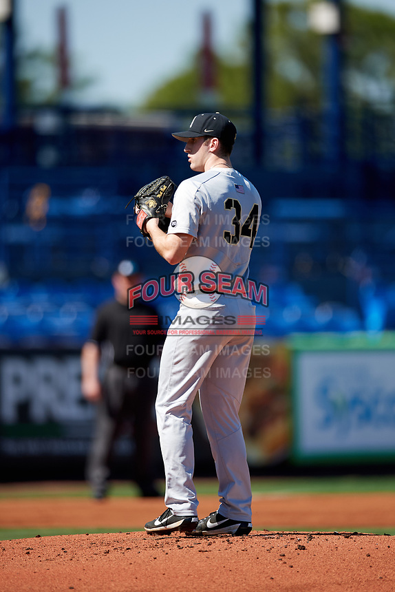 Army West Point starting pitcher Matt Ball (34) gets ready to deliver a pitch during a game against the Michigan Wolverines on February 17, 2018 at First Data Field in St. Lucie, Florida.  Army defeated Michigan 4-3.  (Mike Janes/Four Seam Images)