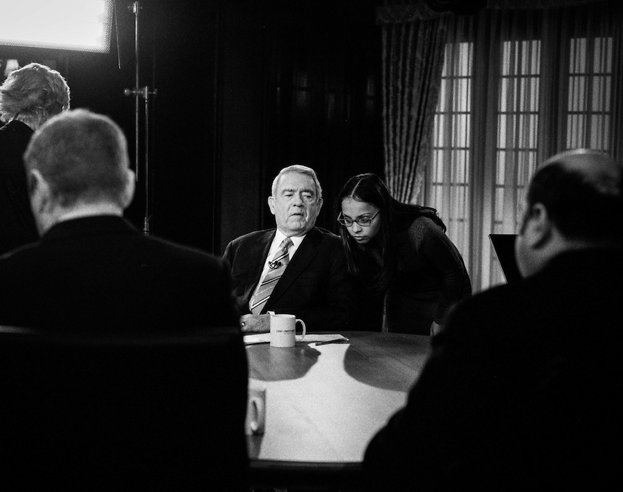 TV journalist Dan Rather prepares for and leads a live broadcast round-table discussion during the 2012 New Hampshire Republican primary.