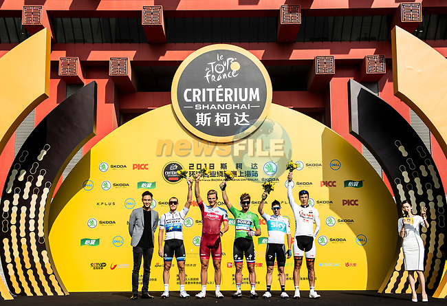 Top riders at the team presentation before the start of the 2018 Shanghai Criterium, Shanghai, China. 17th November 2018.<br /> Picture: ASO/Alex Broadway | Cyclefile<br /> <br /> <br /> All photos usage must carry mandatory copyright credit (&copy; Cyclefile | ASO/Alex Broadway)