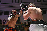 Duane Sinclair (black shorts) defeats Callum Ide during a Boxing Show at York Hall on 3rd March 2018