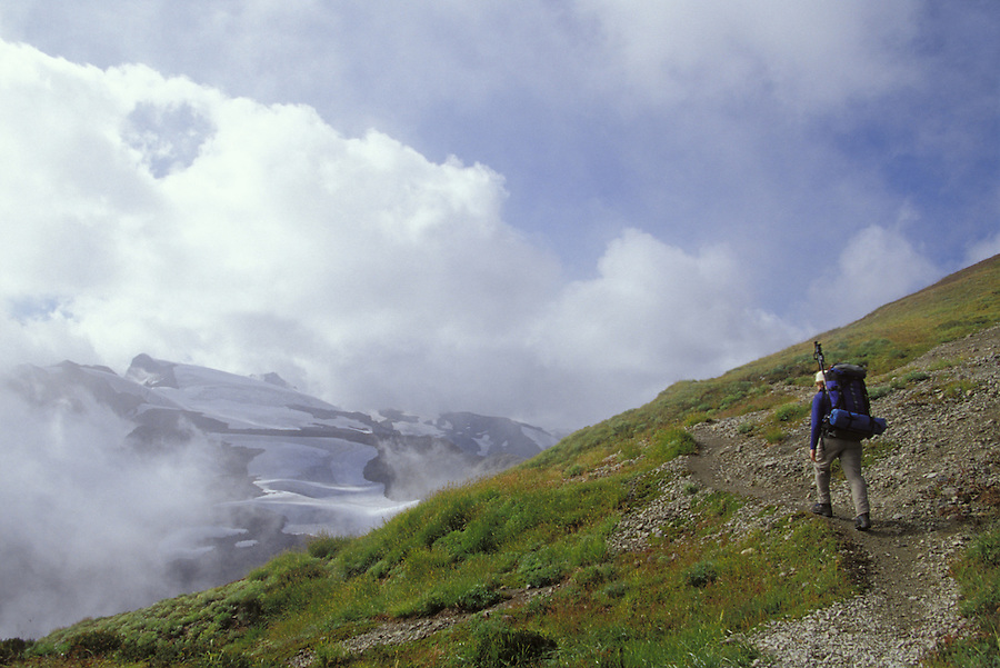 Hiker on Ptarmigan Ridge Trail, North Cascades, Cascade Mountains, Washington