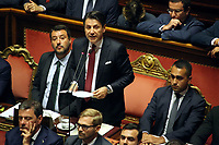 Matteo Salvini and Giuseppe Conte<br /> Rome August 20th 2019. Senate. Speech of the Prime Minister about the crisis of Government. Just after the speech the Premier went to the President of the Republic to resign<br /> Foto  Insidefoto