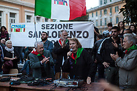 """Mario Di Maio & Tina Costa (Antifascist Partizans. Members of the Partigiani: the Italian Resistance during WWII).<br /> <br /> Roma, 27/10/2018. Today Members of the far-right/neo-fascist political party 'Forza Nuova' (New Force), held a demonstration at Porta Maggiore in Rome in response to the rape and murder of the 16-year-old Desiree Mariottini committed in San Lorenzo district Friday the 19th October. <br /> In the meantime, ANPI (National Association of Italian Partizans), supported by other anti-fascist / anti-racist organizations, social centres, trade unions, and political parties, held a counter-demonstration in the heart of San Lorenzo, Piazza dell'Immacolata. The demo was called to protest against the rally of Forza Nuova (New Force), accused to be a fascist group trying to exploit the death of Desiree Mariottini, to propose """"fascist patrols"""" ('ronde' in Italian) in the famous WWII-anti-fascist neighbourhood of San Lorenzo, and for """"narrow-minded slander"""" ('sciacallaggio' in Italian).  <br /> The heavy police presence, in full riot gears, kept the two sides apart. A small group of provocateurs, armed of two 'Forza Nuova' (New Force) flags, were blocked by anti-fascists and police while they were trying to reach the area where Desiree Mariottini was killed in Via dei Lucani 22.  <br /> The sixteen-year-old Desiree Mariottini was found dead in a derelict-abandoned building (known for drug trafficking) in San Lorenzo district on October 19. The Italian police, in connection with the murder, arrested four people, two Senegalese, one Nigerian and one Ghanaian nationals, who allegedly drugged and gang raped Desiree while unconscious, before she died of an alleged overdose (For more info BBC website, https://bbc.in/2O5Sf8l)."""