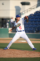 Dean Kremer (17) of the Rancho Cucamonga Quakes pitches against the Stockton Ports at Loan Mart Field on July 16, 2017 in Rancho Cucamonga, California. Rancho Cucamonga defeated Stockton 9-1. (Larry Goren/Four Seam Images)