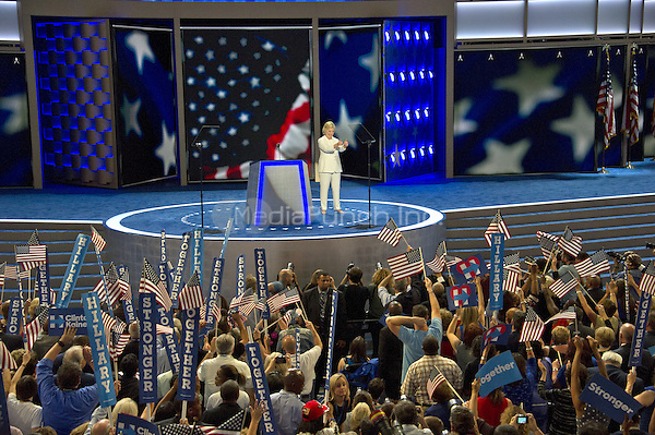 Hillary Clinton, the Democratic Party nominee for President of the United States, delivers her acceptance speech during the fourth session of the 2016 Democratic National Convention at the Wells Fargo Center in Philadelphia, Pennsylvania on Thursday, July 28, 2016.<br /> Credit: Ron Sachs / CNP/MediaPunch<br /> (RESTRICTION: NO New York or New Jersey Newspapers or newspapers within a 75 mile radius of New York City)