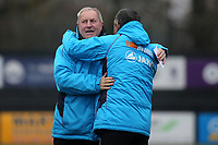 Bromley Manager, Neil Smith embraces Dagenham Assistant Manager, Terry Harris, ahead of kick-off during Bromley vs Dagenham & Redbridge, Vanarama National League Football at the H2T Group Stadium on 24th November 2018