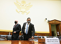 Brian Bulatao (C), Under Secretary of State for Management and R. Clarke Cooper (R), Assistant Secretary of State for Political-Military Affairs, prepare to testify before a House Committee on Foreign Affairs hearing looking into the firing of State Department Inspector General Steven Linick, on Capitol Hill in Washington, D.C. on Wednesday, September 16, 2020.  <br /> Credit: Kevin Dietsch / Pool via CNP /MediaPunch