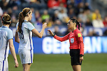 CHESTER, PA - MARCH 01: Jill Scott (ENG) (18) appeals to referee Melissa Borjas (HON) (right) to show a card. The England Women's National Team played the France Women's National Team as part of the She Believes Cup on March, 1, 2017, at Talen Engery Stadium in Chester, PA. The France won the game 2-1.
