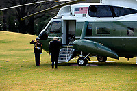 United States President Donald J. Trump walks to Marine One on the South Lawn of the White House in Washington D.C., U.S., on Friday, February 7, 2020 as he departs for a day trip to deliver remarks at the North Carolina Opportunity Now Summit in Charlotte, North Carolina.<br /> <br /> Credit: Stefani Reynolds / CNP/AdMedia