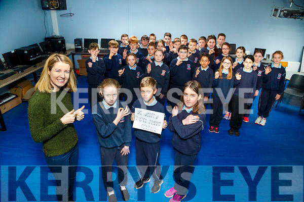 Ardfert becomes and Signing School and launching the sign lesson is Eileen Drumgoole (S.N.A and Interpretor) on Monday Front Kaci Heather,Adam Leen and Meaghan O'Connor