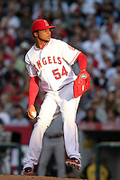 Los Angeles Angels pitcher Ervin Santana #54 pitches against the New York Yankees at Angel Stadium on June 4, 2011 in Anaheim,California. Larry Goren/Four Seam Images