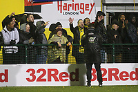 Fans sing towards manager Tom Loizou during Haringey Borough vs AFC Wimbledon, Emirates FA Cup Football at Coles Park Stadium on 9th November 2018