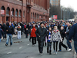 rangers supporters heading for the match at Ibrox