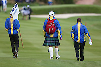 Marshal sporting tartan on Tartan Tuesday ahead of the 2014 Ryder Cup at Gleneagles, Perthshire, Scotland 26th to 28th September 2014. Picture David Lloyd / www.golffile.ie.