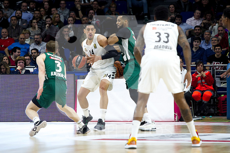 Zalgiris' Nate Wolters, Real Madrid's Gustavo Ayon and Real Madrid's Trey Thompkins during Euroligue match between Real Madrid and Zalgiris Kaunas at Wizink Center in Madrid, Spain. April 4, 2019.  (ALTERPHOTOS/Alconada)