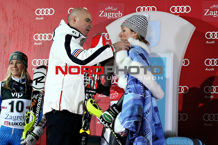 04.01.2013., Sljeme, Zagreb - Ladies Slalom race  &quot;Vip Snow Queen Trophy&quot; Zagreb-Sljeme 2013.<br /> Mikaela Shiffrin a new Snow Queen. <br /> Foto &copy;  nph / PIXSELL / Marko Prpic