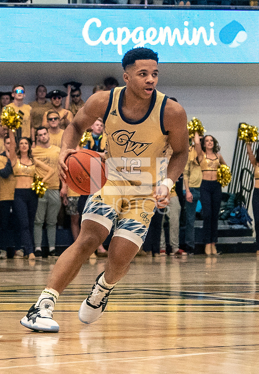 WASHINGTON, DC - FEBRUARY 8: Jameer Nelson Jr. #12 of George Washington on the attack during a game between Rhode Island and George Washington at Charles E Smith Center on February 8, 2020 in Washington, DC.