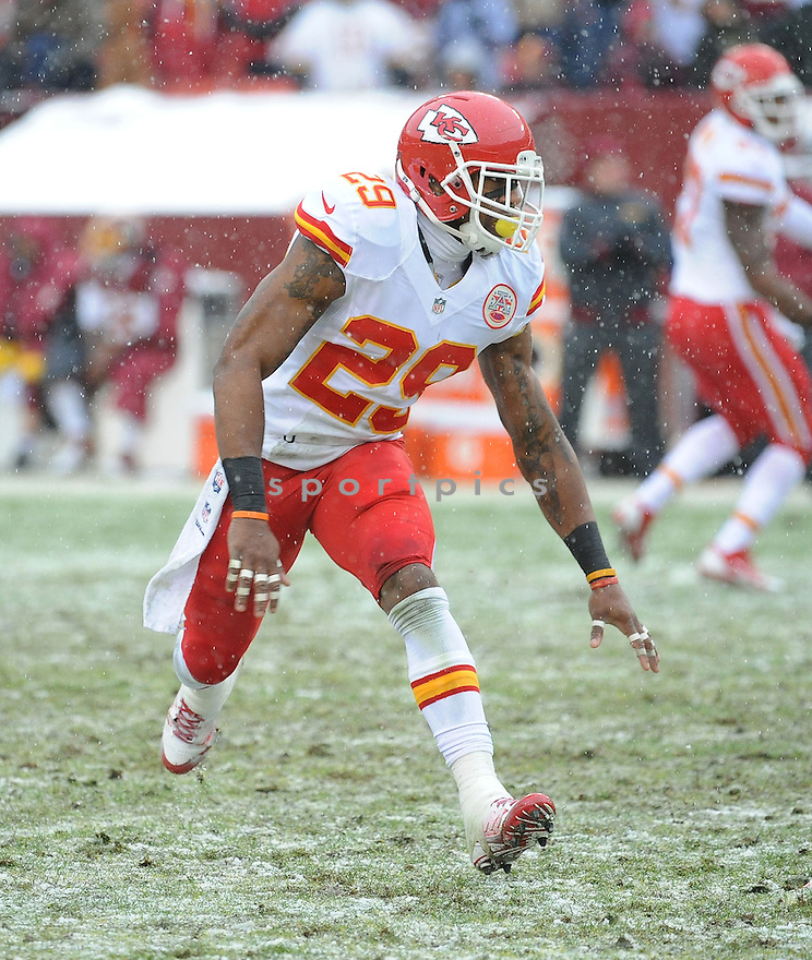 Kansas City Chiefs Eric Berry (29) during a game against the Washington Redskins on December 8, 2013 at FedEx Field in Landover, MD. The Chiefs beat the Redskins 45-10.