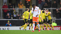 Blackpool's Joe Dodoo reacts after Burton Albion's Lucas Akins scored his side's third goal <br /> <br /> Photographer Chris Vaughan/CameraSport<br /> <br /> The EFL Sky Bet League One - Burton Albion v Blackpool - Saturday 16th March 2019 - Pirelli Stadium - Burton upon Trent<br /> <br /> World Copyright &copy; 2019 CameraSport. All rights reserved. 43 Linden Ave. Countesthorpe. Leicester. England. LE8 5PG - Tel: +44 (0) 116 277 4147 - admin@camerasport.com - www.camerasport.com