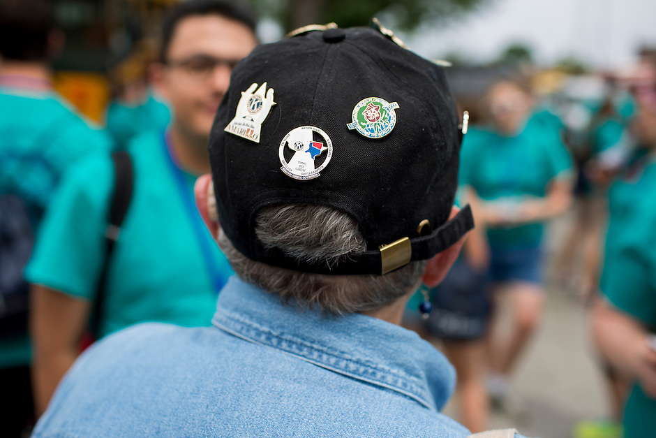 "Kiwanis International hat pins are seen during ""Circle the City with Service,"" the Kiwanis Circle K International's 2015 Large Scale Service Project, on Wednesday, June 24, 2015, in Indianapolis. (Photo by James Brosher)"