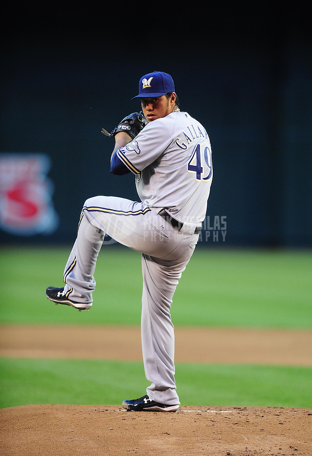 May 7, 2010; Phoenix, AZ, USA; Milwaukee Brewers pitcher Yovani Gallardo against the Arizona Diamondbacks at Chase Field. Mandatory Credit: Mark J. Rebilas-