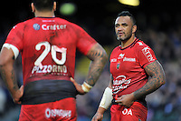 Jocelino Suta of Toulon speaks to team-mate Romain Taofifenua. European Rugby Champions Cup match, between Bath Rugby and RC Toulon on January 23, 2016 at the Recreation Ground in Bath, England. Photo by: Patrick Khachfe / Onside Images