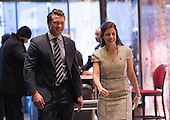 Pete Hegseth (L), a contender for the position of Veterans Affairs Secretary, is seen in the lobby of Trump Tower in New York, NY, USA upon his arrival on December 15, 2016. <br /> Credit: Albin Lohr-Jones / Pool via CNP