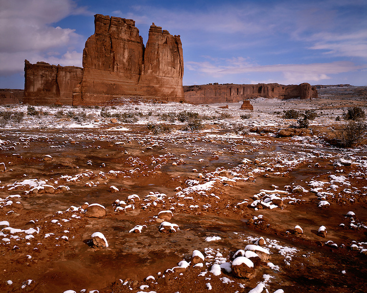Morning winter light on Courthouse Towers; Arches National Park, UT