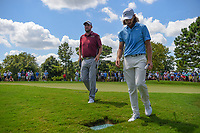 Marc Leishman (AUS) and Tommy Fleetwood (ENG) make their way to the tee on 2 during round 1 of the 2019 Tour Championship, East Lake Golf Course, Atlanta, Georgia, USA. 8/22/2019.<br /> Picture Ken Murray / Golffile.ie<br /> <br /> All photo usage must carry mandatory copyright credit (© Golffile | Ken Murray)