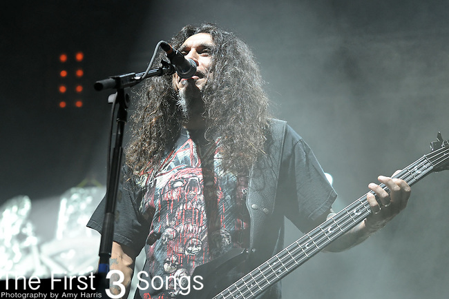 Bassist/singer Tom Araya of the band Slayer performs at the Time Warner Amphitheater at Tower City in Cleveland, Ohio as part of the American Carnage Tour Wednesday on August 18, 2010. Slayer, Megadeth & Testament were on the billing.