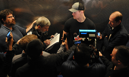 Ross Johnston speaks with the media after New York Islanders player exit interviews at Northwell Health Ice Center in East Meadow on Sunday, April 8, 2018.