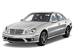 Front three quarter view of a 2008 mercedes e63 sedan