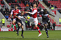 Bondz N'Gala of Stevenage and Alex Revell of Rotherham contest a header. Rotherham United v Stevenage - FA Cup 1st Round - New York Stadium, Rotherham - 3rd November 2012. © Kevin Coleman 2012.