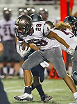 Torrance, CA 10/09/15 - Sean Fitzgerald (South #42) and Jeremiah Aiono (Torrance #28) in action during the Torrance vs South High varsity football game.  South defeated Torrance 24-21.