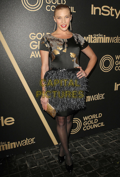 Katee Sackhoff.The Hollywood Foreign Press Association And InStyle Miss Golden Globe 2013 Party held at Cecconi's Restaurant, West Hollywood, California, USA, 29th November 2012..full length black feather dress skirt hand on hip gold  .CAP/ADM/KB.©Kevan Brooks/AdMedia/Capital Pictures.
