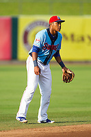 Tennessee Smokies shortstop Addison Russell (4) on defense against the Mississippi Braves at Smokies Park on July 22, 2014 in Kodak, Tennessee.  The Smokies defeated the Braves 8-7 in 10 innings. (Brian Westerholt/Four Seam Images)