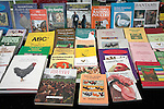 Display of poultry books, Suffolk Smallholders annual show, Stonham Barns, Suffolk, England, July 2008
