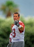 May 20, 2009; Tempe, AZ, USA; Arizona Cardinals quarterback Kurt Warner during organized team activities at the Cardinals practice facility. Mandatory Credit: Mark J. Rebilas-