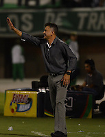 ENVIGADO –COLOMBIA, 14-02-2015: Juan Carlos Osorio técnico de Atlético Nacional gesticula durante el encuentro con Envigado FC por la fecha 4 de la Liga Águila I 2015 realizado en el Polideportivo Sur de la ciudad de Envigado./ Juan Carlos Osorio coach of Atletico Nacional gestures during match against Envigado FC for the 4th date of the Aguila League I 2015 at Polideportivo Sur in Envigado city.  Photo: VizzorImage/León Monsalve/STR