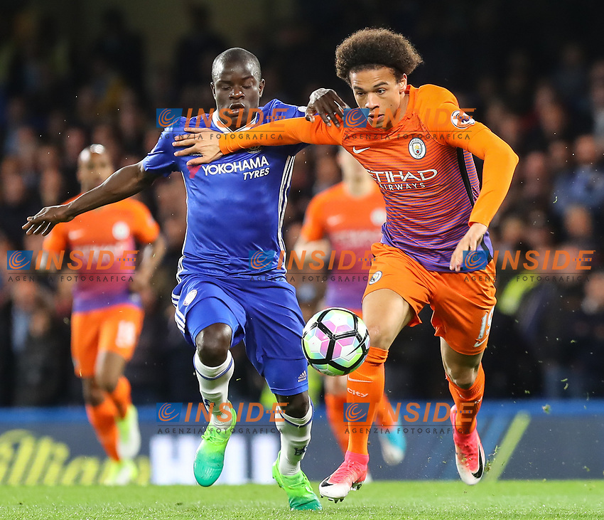 N'Golo Kante of Chelsea and Leroy Sane of Manchester City during the Premier League match between Chelsea and Manchester City at Stamford Bridge on April 5th 2017 in London, England.<br /> Foto PHC Images / Panoramic / Insidefoto <br /> ITALY ONLY