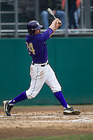 Washington Huskies outfielder Will Sparks (24) swings the bat during the NCAA baseball game against the Michigan Wolverines on February 16, 2014 at Bobcat Ballpark in San Marcos, Texas. The game went eight innings, before travel curfew ended the contest in a 7-7 tie. (Andrew Woolley/Four Seam Images)