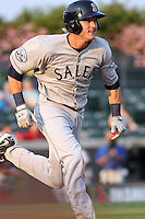 Kolbrin Vitek #5 of the Salem Red Sox running to first base during a game against the Myrtle Beach Pelicans on May 25, 2011 at BB&T Coastal Field in Myrtle Beach, South Carolina.