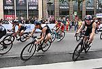 06.07.2019,  Innenstadt, Hamburg, GER, Hamburg Wasser World Triathlon, Elite Mainner, im Bild die Triathleten auf dem Fahrrad auf der Moenckebergstrasse mit Valentin Wernz (GER) Foto © nordphoto / Witke *** Local Caption ***